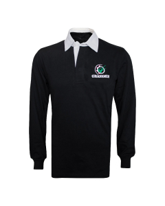 NO FARMERS. NO FOOD. NO FUTURE. Cotton Rugby Jersey Long Sleeved Black