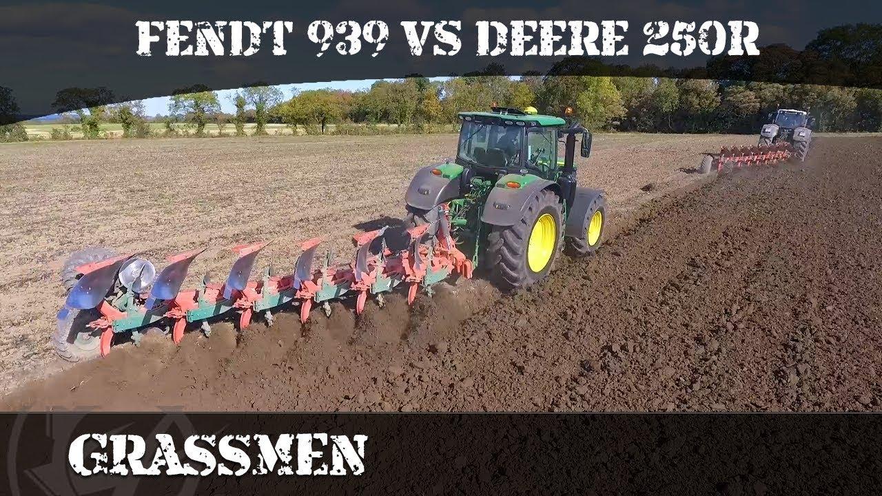 Fendt 939 vs John Deere 250r Ploughing