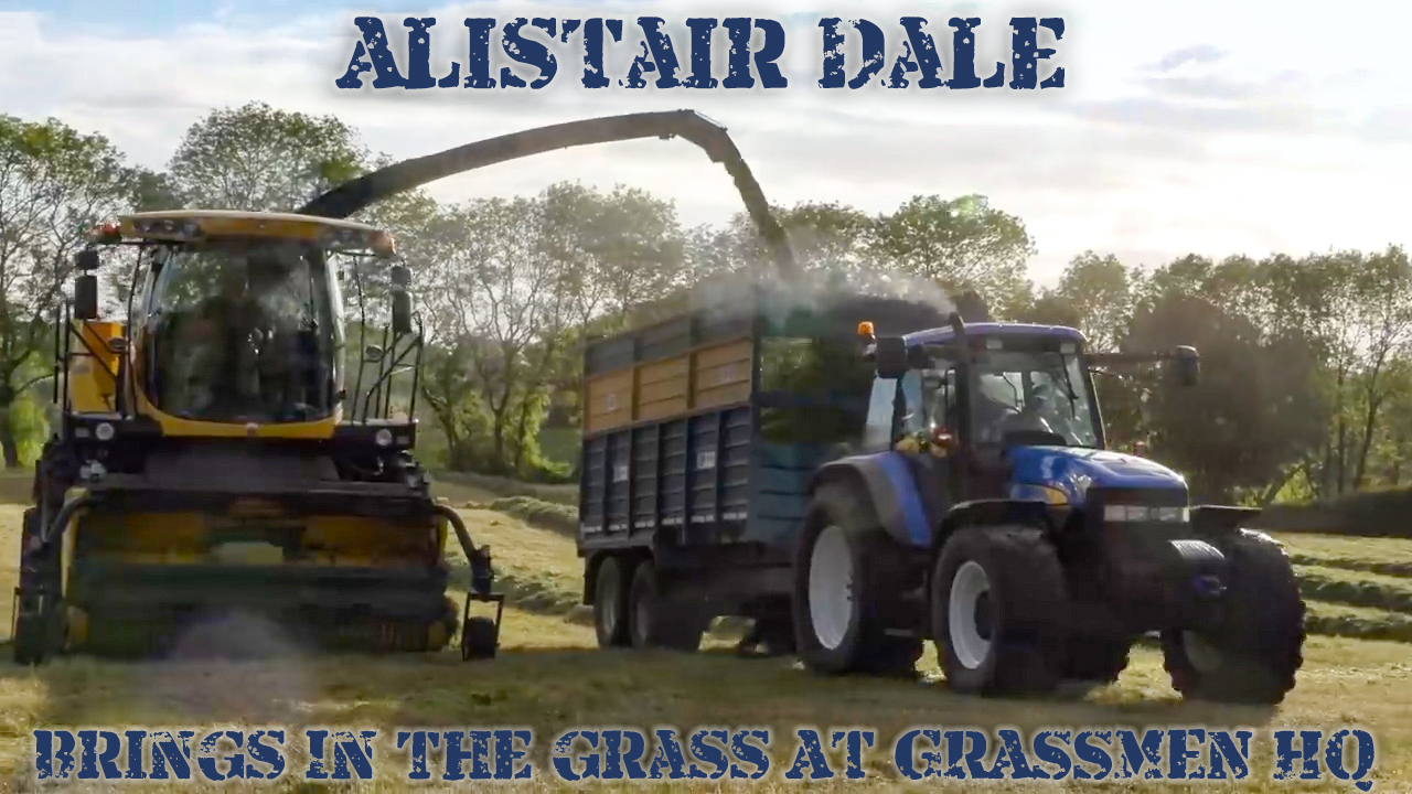 Alistair Dale brings in the grass at GRASSMEN HQ
