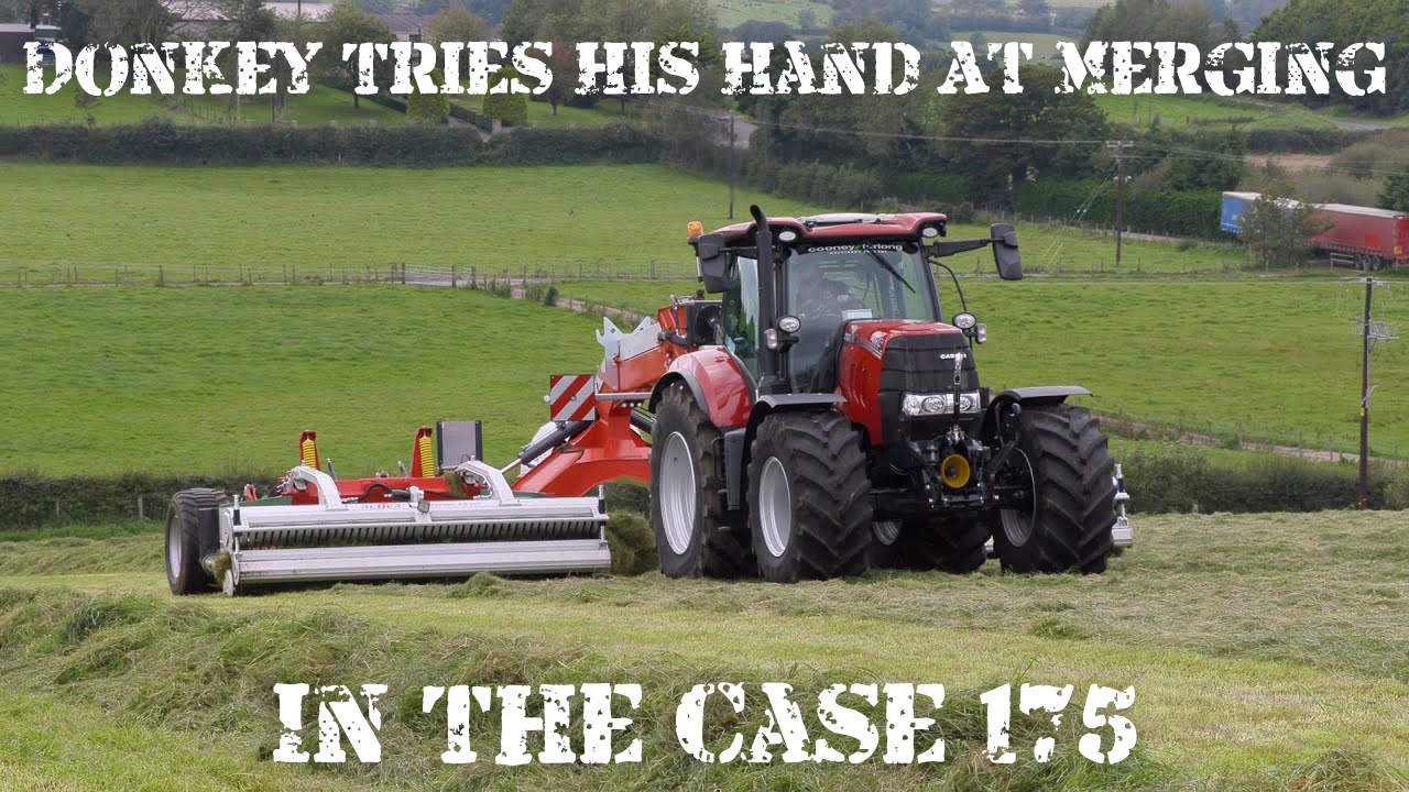 Donkey tries his hand at merging in the Case 175