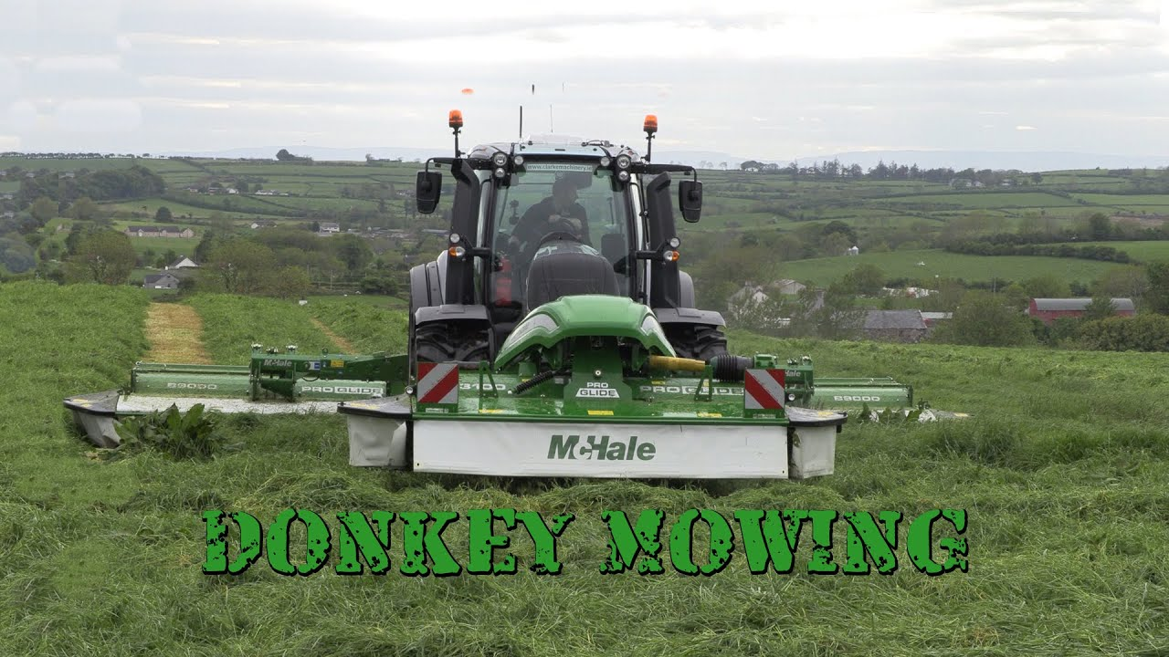 Donkey Mowing in the Valtra T234 with McHale Pro Glide Butterfly Mowers!