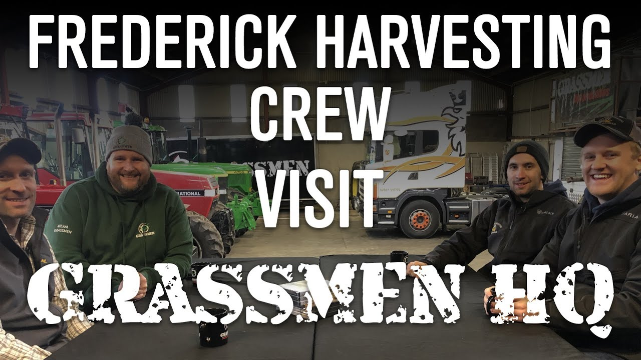 Sam, Disco, and Nick from the Frederick Harvesting crew visit GRASSMEN HQ
